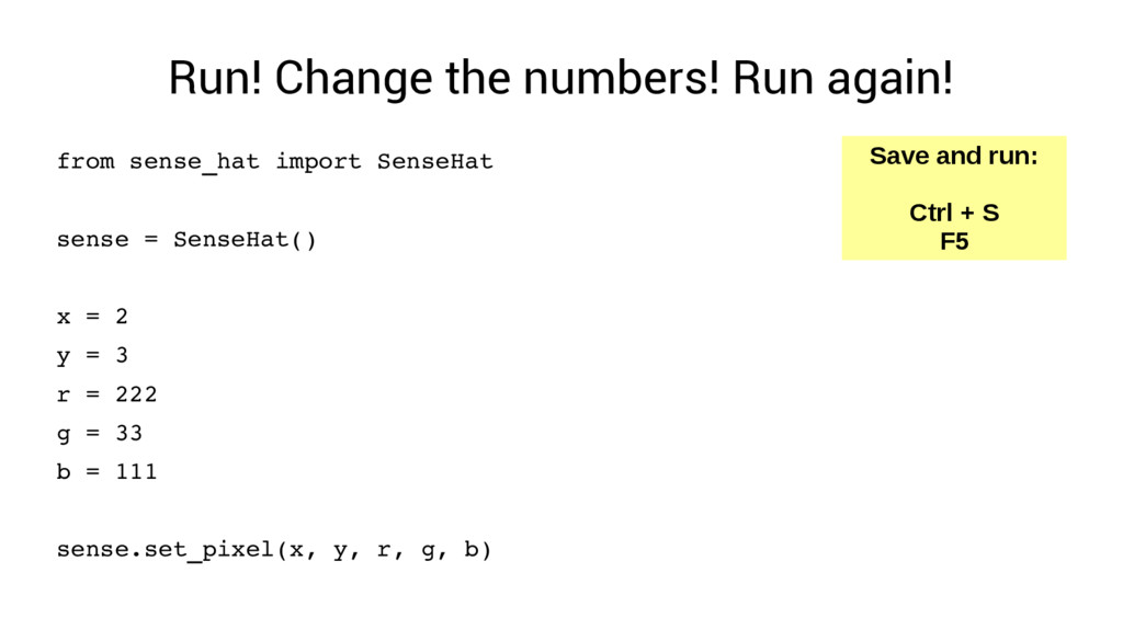 Run! Change the numbers! Run again! from sense_...