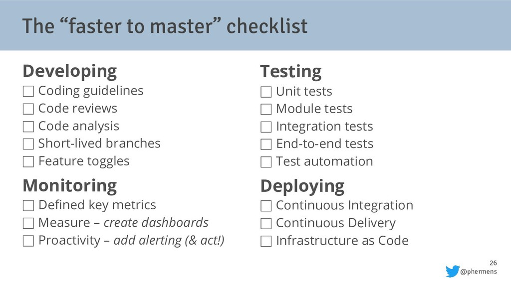 """26 @phermens The """"faster to master"""" checklist D..."""