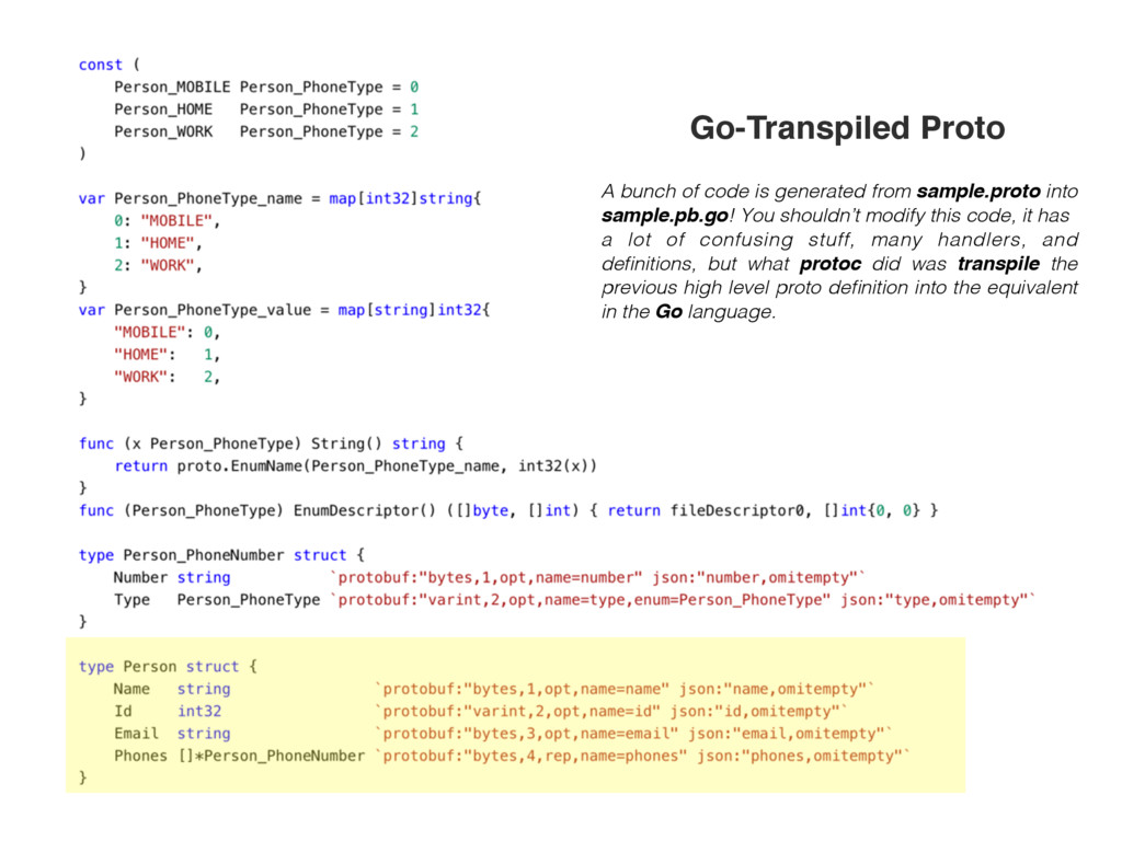 A bunch of code is generated from sample.proto ...