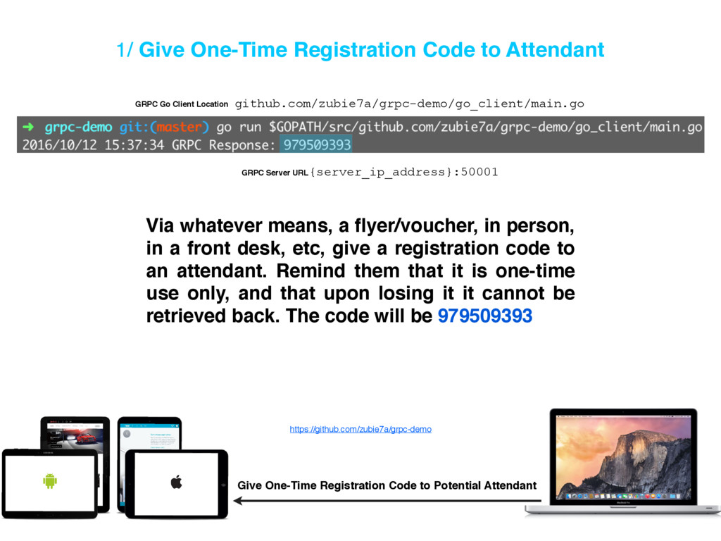 1/ Give One-Time Registration Code to Attendant...