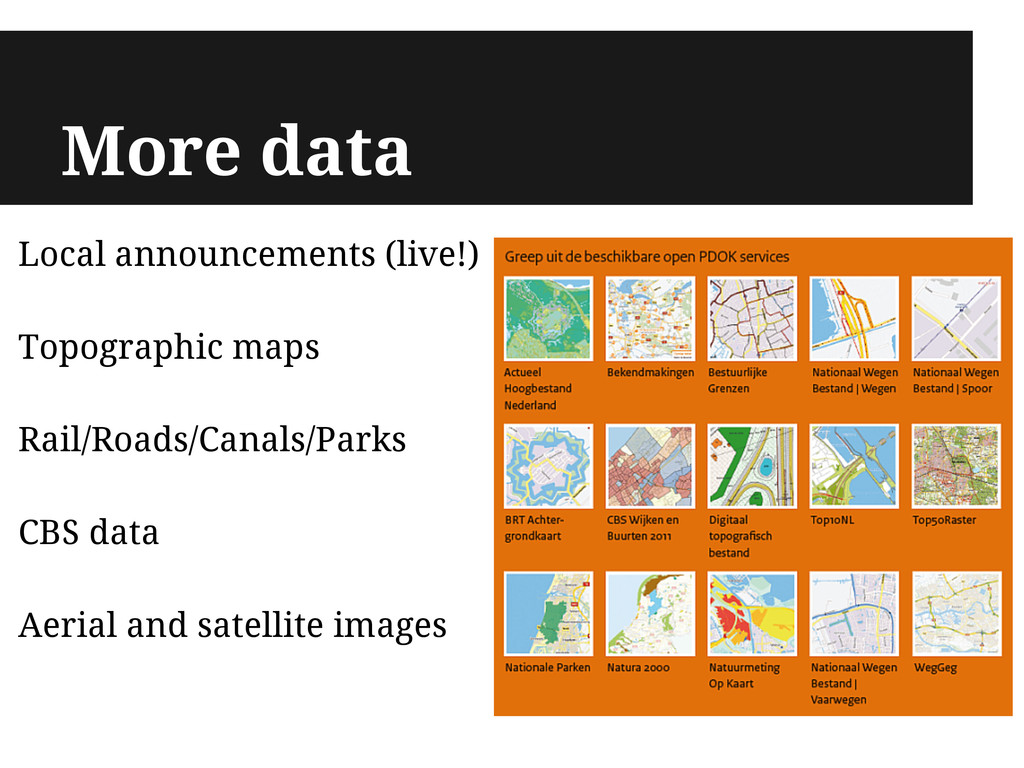 More data Local announcements (live!) Topograph...