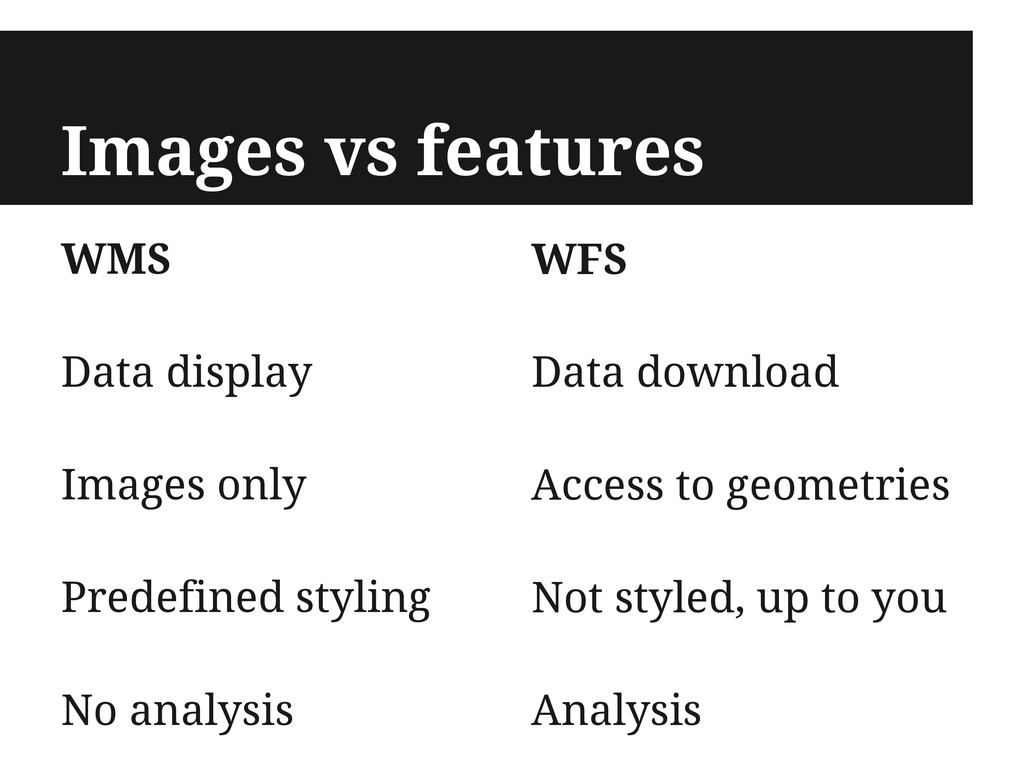 Images vs features WMS Data display Images only...