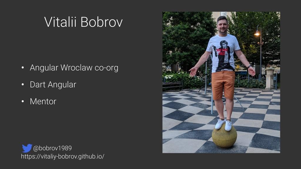 Vitalii Bobrov • Angular Wroclaw co-org • Dart ...