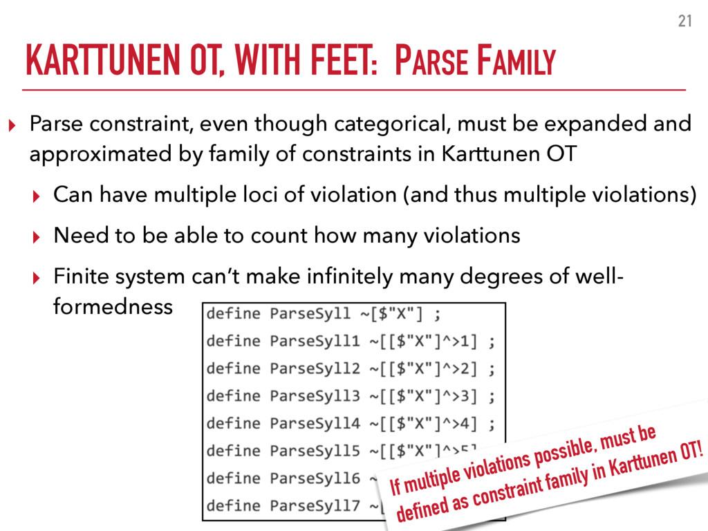KARTTUNEN OT, WITH FEET: PARSE FAMILY 21 ▸ Pars...