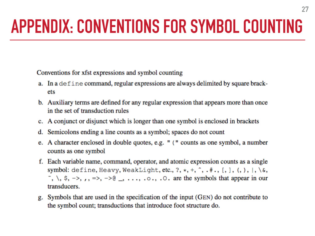 APPENDIX: CONVENTIONS FOR SYMBOL COUNTING 27
