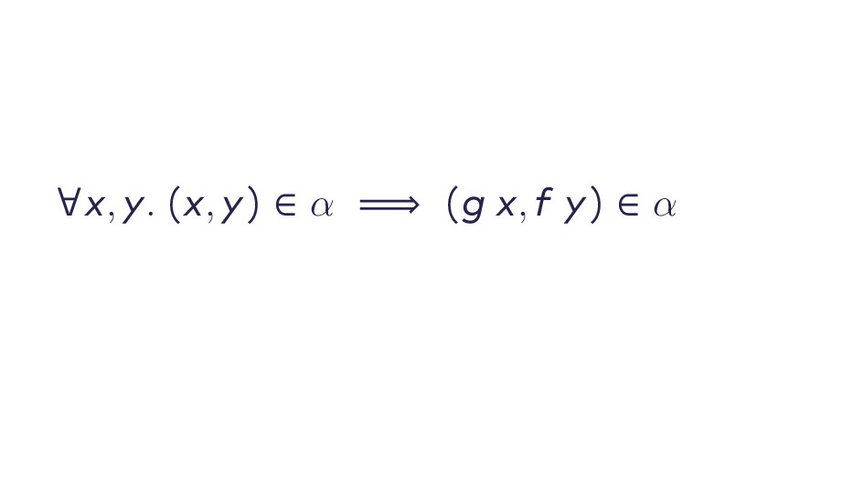 ∀x , y . (x , y ) ∈ α ⟹ (g x , f y ) ∈ α