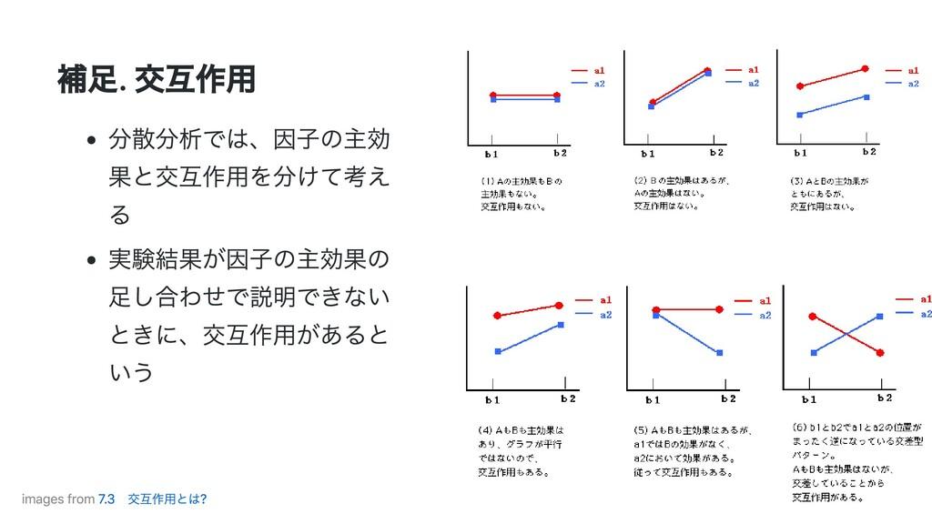 補⾜. 交互作⽤ 分散分析では、因⼦の主効 果と交互作⽤を分けて考え る 実験結果が因⼦の主効...