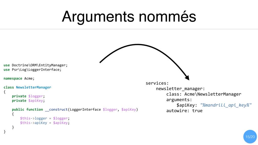 Arguments nommés use Doctrine\ORM\EntityManager...