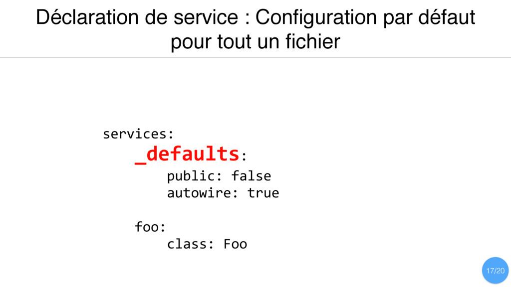 Déclaration de service : Configuration par défau...