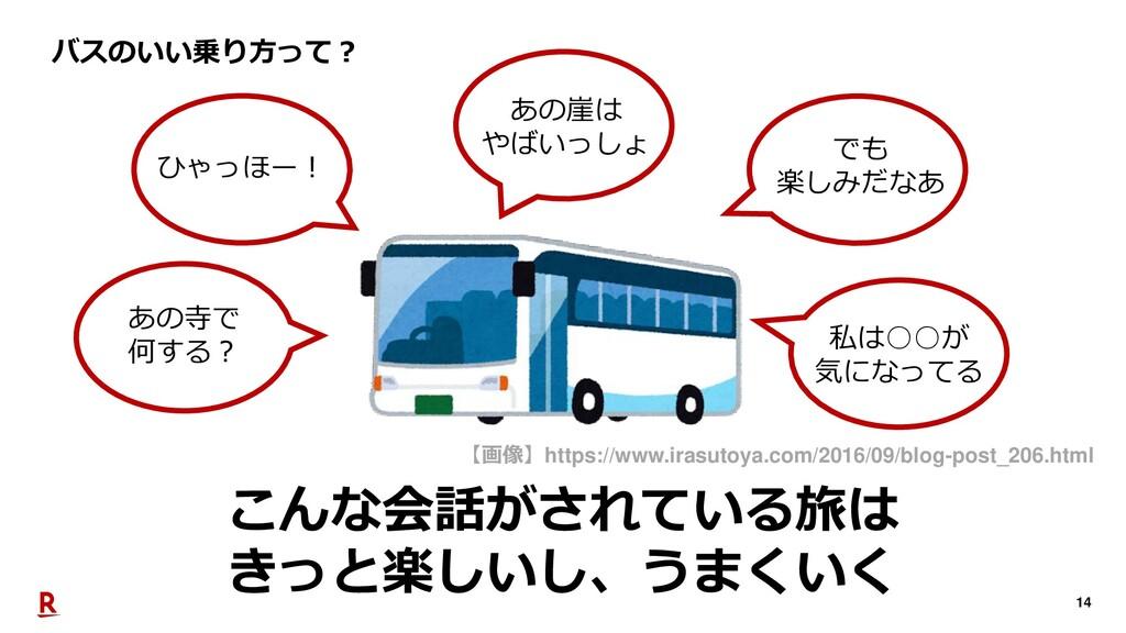 14 こんな会話がされている旅は きっと楽しいし、うまくいく バスのいい乗り方って? ひゃっほ...