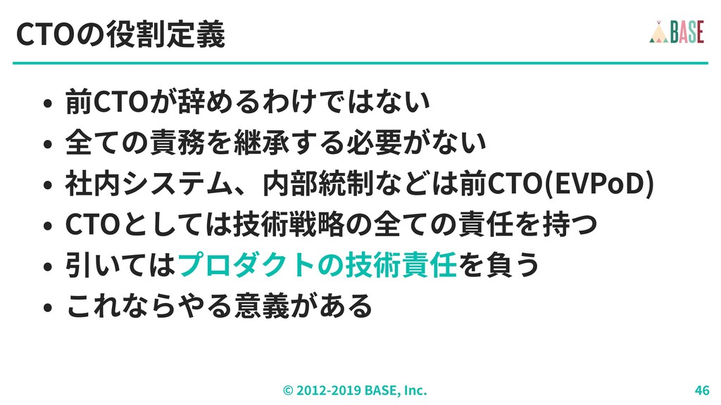 © - BASE, Inc. CTOの役割定義 • 前CTOが辞めるわけではない • 全ての責...