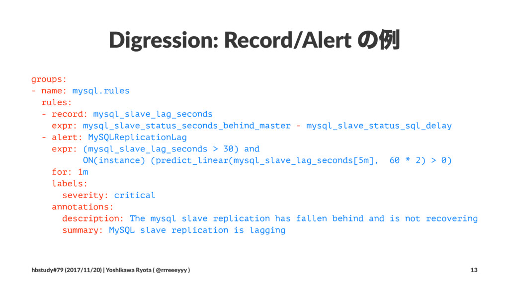 Digression: Record/Alert ͷྫ groups: - name: mys...