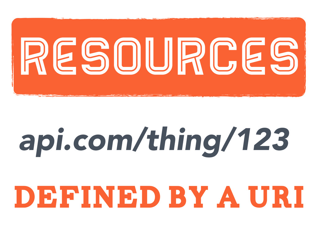 defined by a uri Resources api.com/thing/123