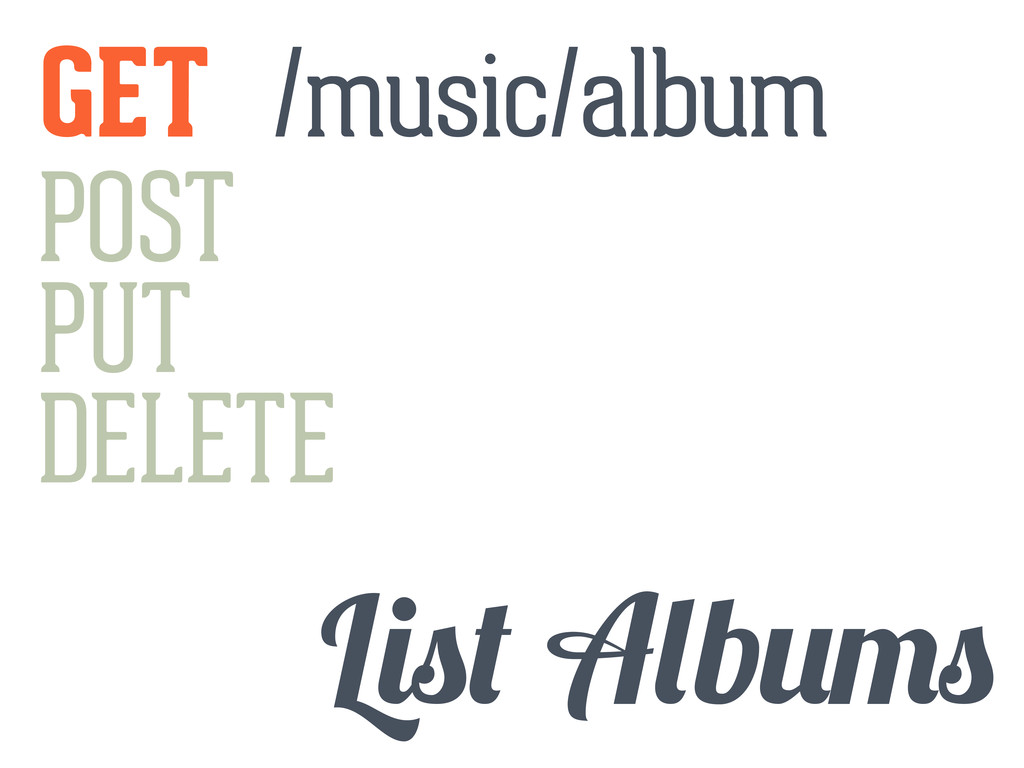 GET POST PUT DELETE L b /music/album
