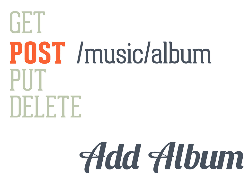 GET POST PUT DELETE b /music/album