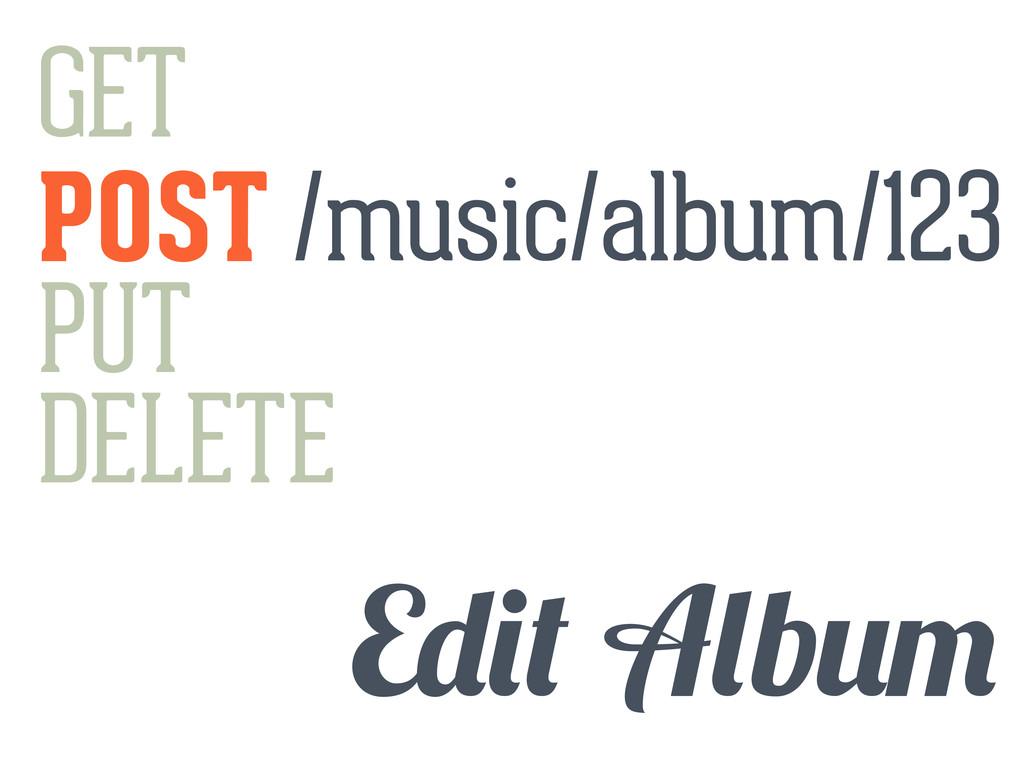GET POST PUT DELETE E b /music/album/123