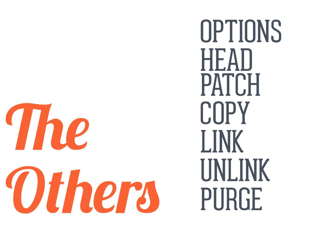 OPTIONS HEAD PATCH COPY LINK UNLINK PURGE O r
