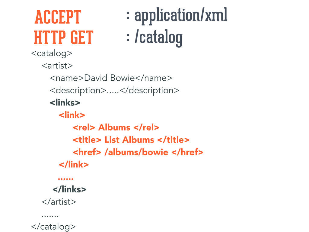 HTTP GET ACCEPT : /catalog : application/xml <c...