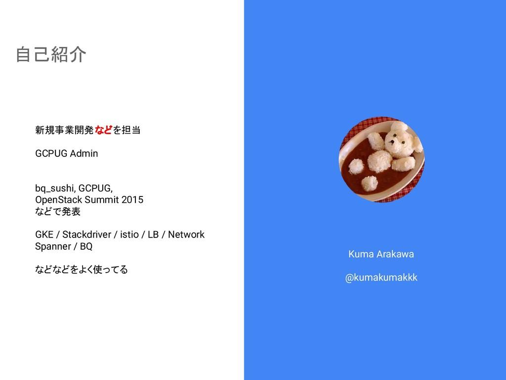 自己紹介 Kuma Arakawa @kumakumakkk 新規事業開発などを担当 GCPU...