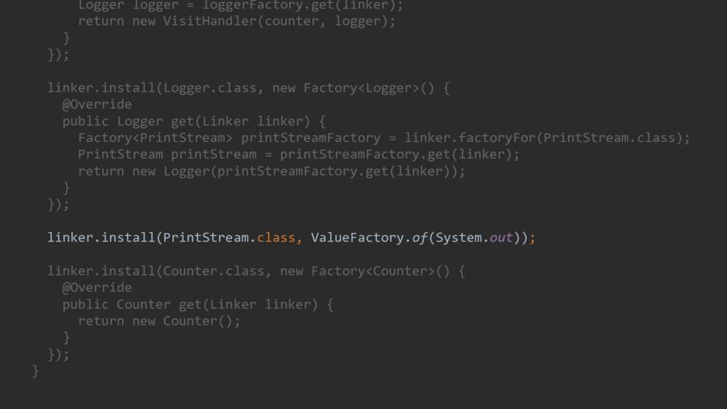 Logger logger = loggerFactory.get(linker); retu...