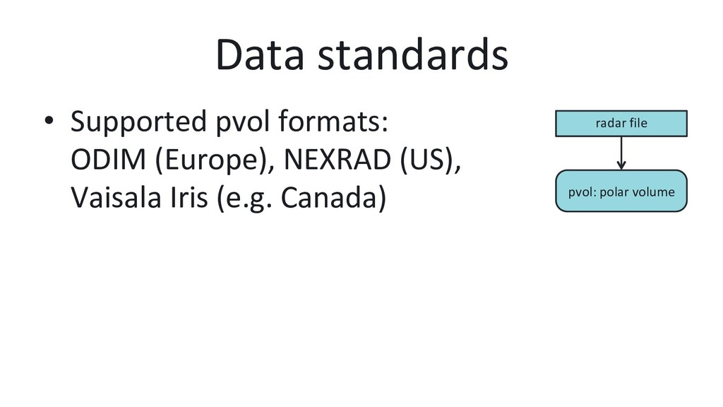 Data standards • Supported pvol formats: ODIM ...