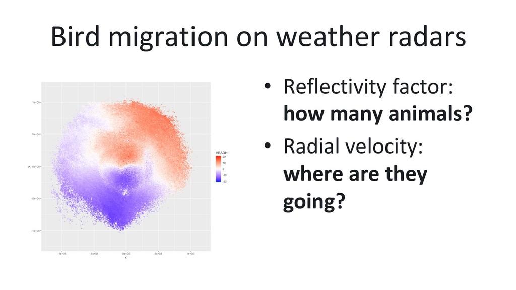 Bird migration on weather radars • Reflectivit...