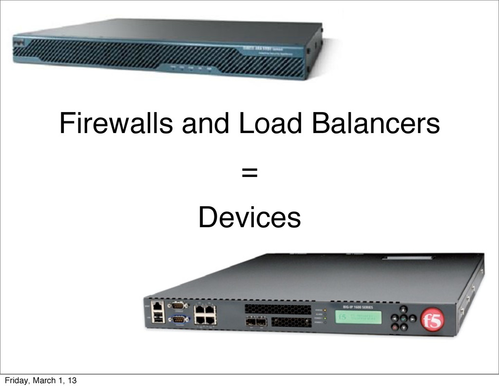 Firewalls and Load Balancers = Devices Friday, ...