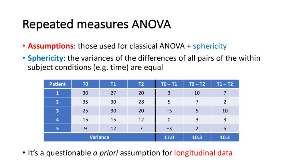 Repeated measures ANOVA • Assumptions: those us...