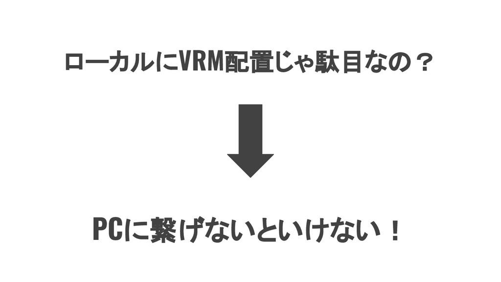 ローカルにVRM配置じゃ駄目なの? PCに繋げないといけない!