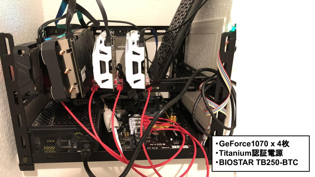 ・GeForce1070 x 4枚 ・Titanium認証電源 ・BIOSTAR TB250-...