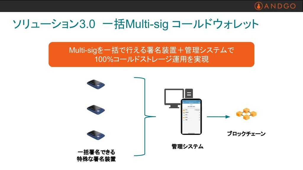 管理システム ソリューション3.0 一括Multi-sig コールドウォレット Multi-s...