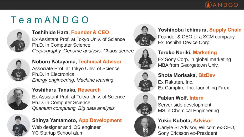 T e a m A N D G O Toshihide Hara, Founder & CEO...
