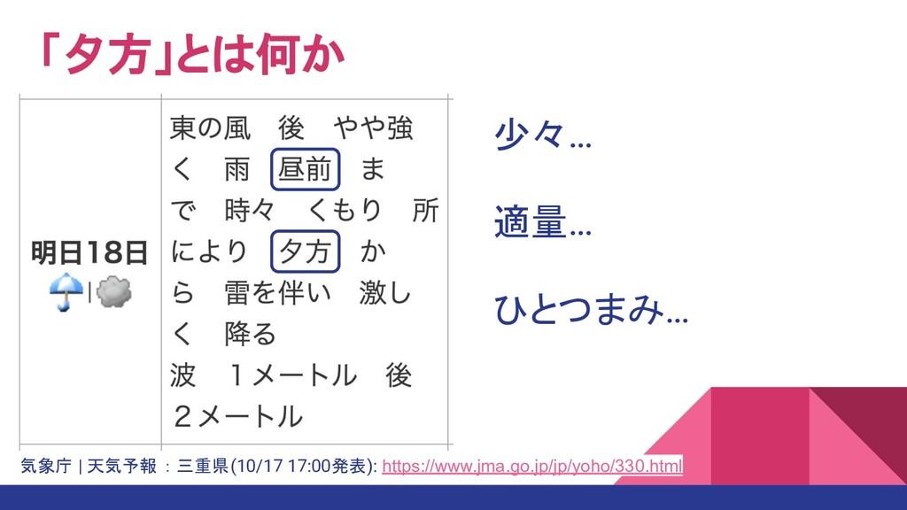 「夕方」とは何か 気象庁 | 天気予報 : 三重県(10/17 17:00発表): https...