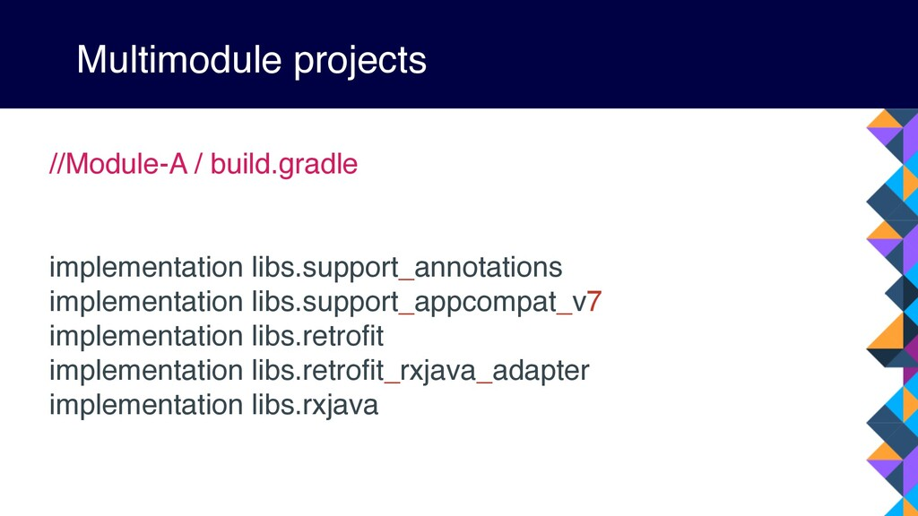 Multimodule projects //Module-A / build.gradle ...