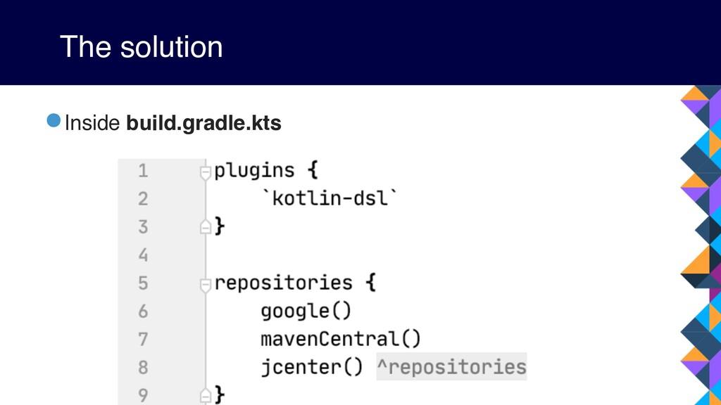 The solution •Inside build.gradle.kts