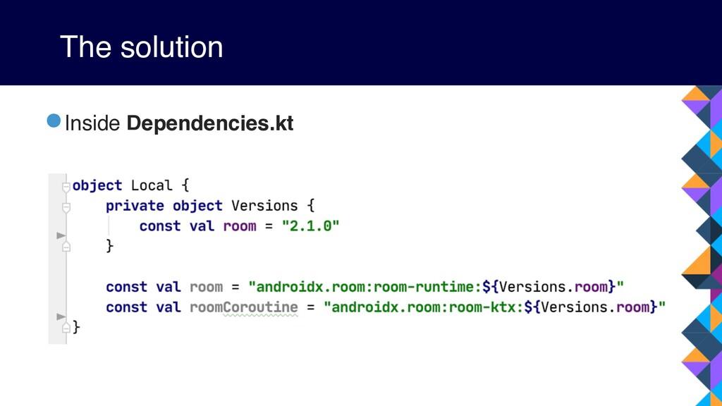 The solution •Inside Dependencies.kt
