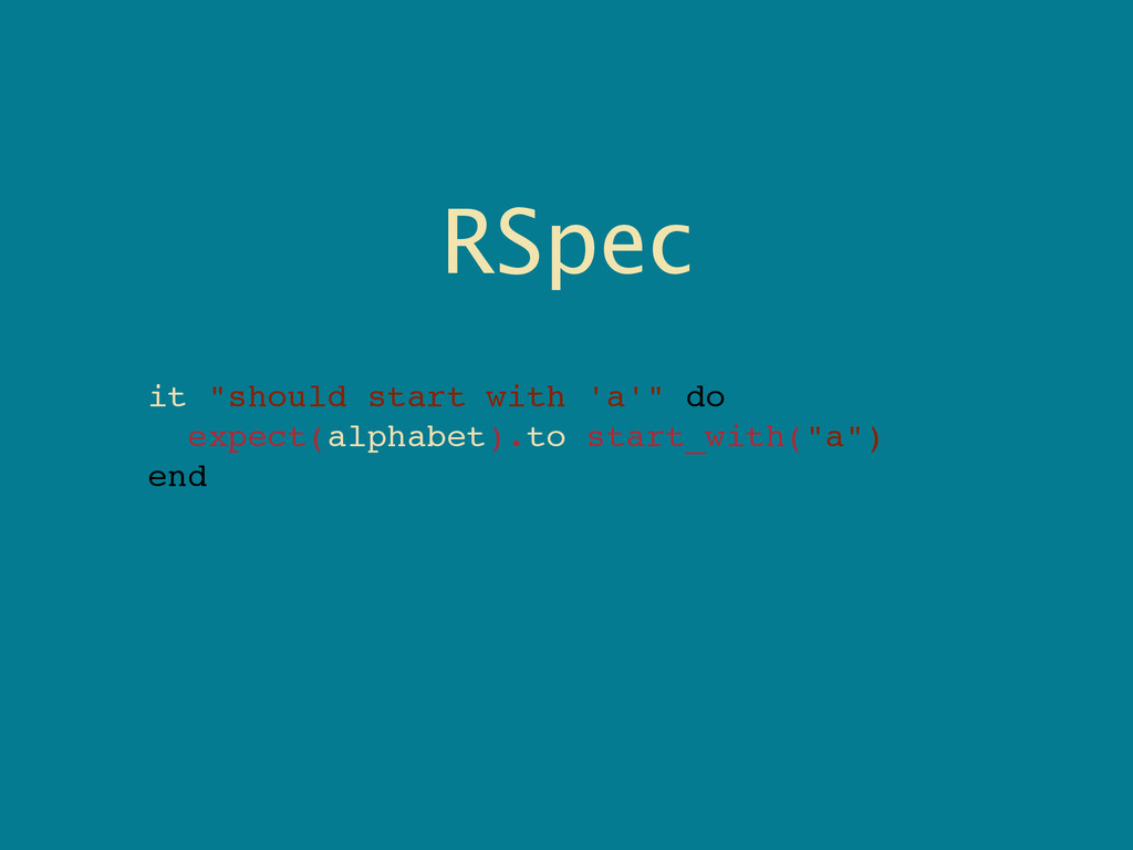 """RSpec it """"should start with 'a'"""" do expect(alph..."""