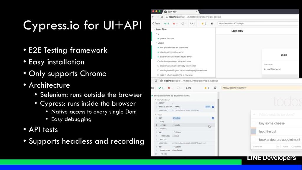 Cypress.io for UI+API • E2E Testing framework •...