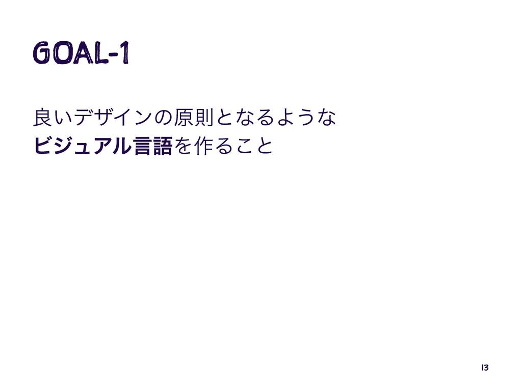 GOAL-1 ྑ͍σβΠϯͷݪଇͱͳΔΑ͏ͳ ϏδϡΞϧݴޠΛ࡞Δ͜ͱ 13