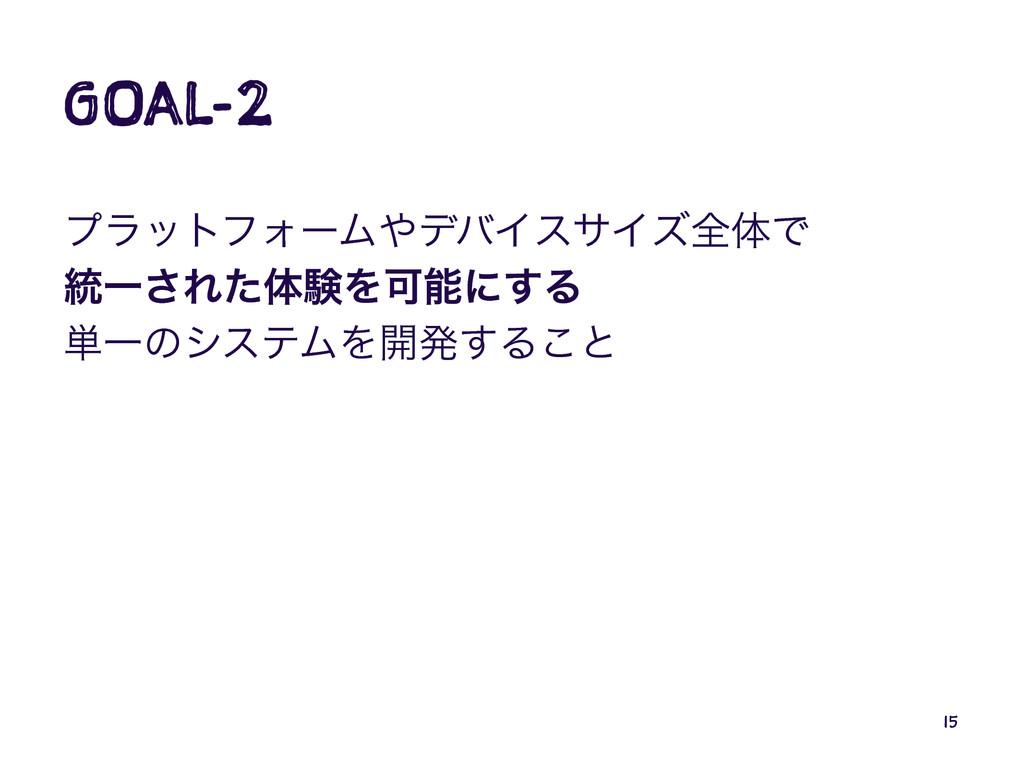 GOAL-2 ϓϥοτϑΥʔϜσόΠεαΠζશମͰ ౷Ұ͞ΕͨମݧΛՄʹ͢Δ ୯Ұͷγες...
