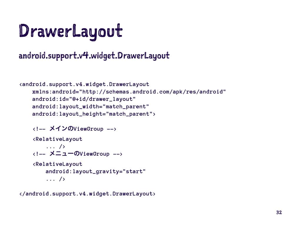 DrawerLayout android.support.v4.widget.DrawerLa...