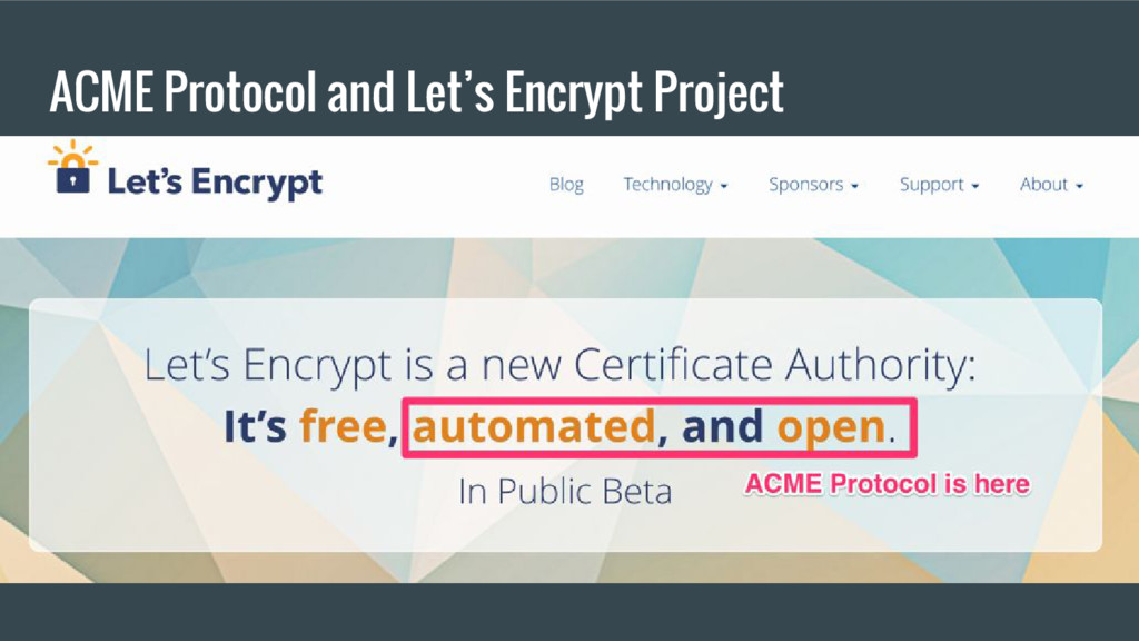 ACME Protocol and Let's Encrypt Project