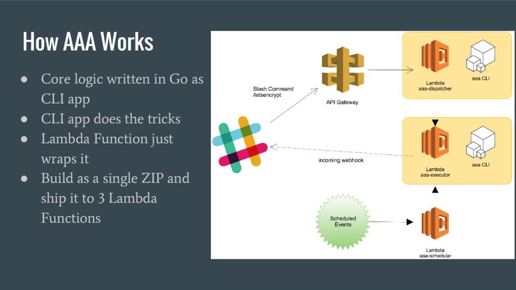 How AAA Works ● Core logic written in Go as CLI...