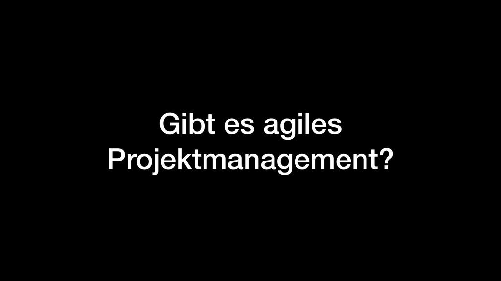 Gibt es agiles Projektmanagement?