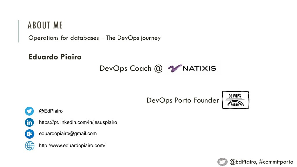 ABOUT ME Operations for databases – The DevOps ...