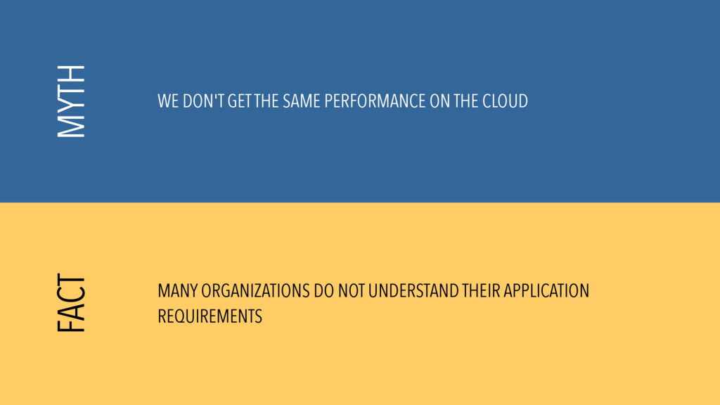 WE DON'T GET THE SAME PERFORMANCE ON THE CLOUD ...