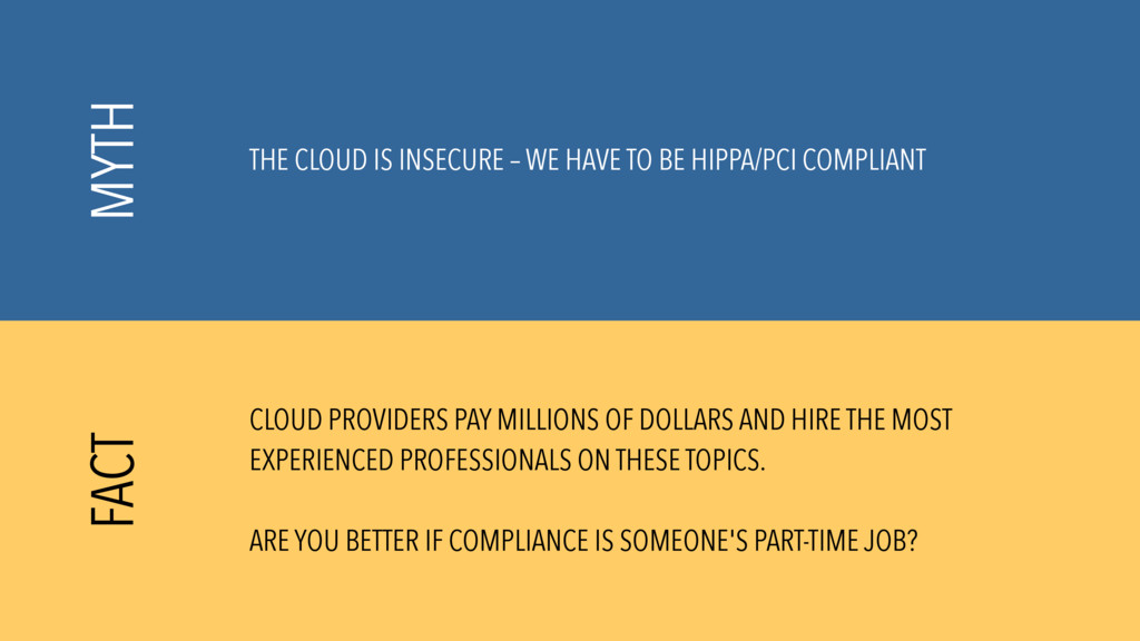 THE CLOUD IS INSECURE – WE HAVE TO BE HIPPA/PCI...