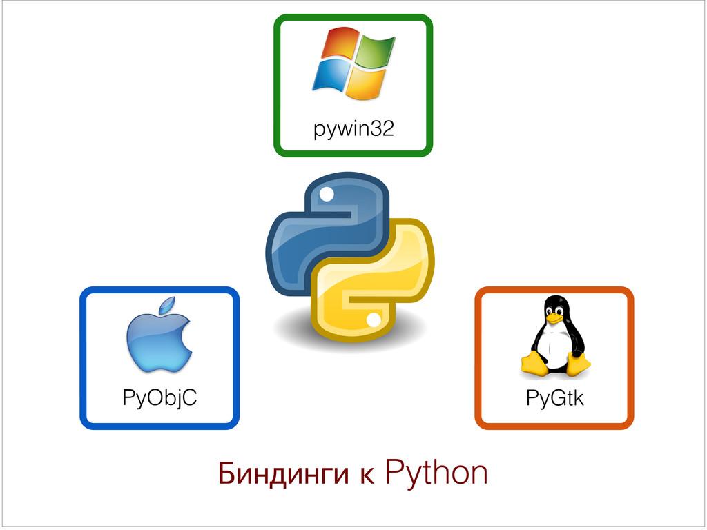 Биндинги к Python PyObjC pywin32 PyGtk