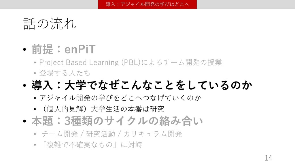 話の流れ • 前提:enPiT • Project Based Learning (PBL)に...