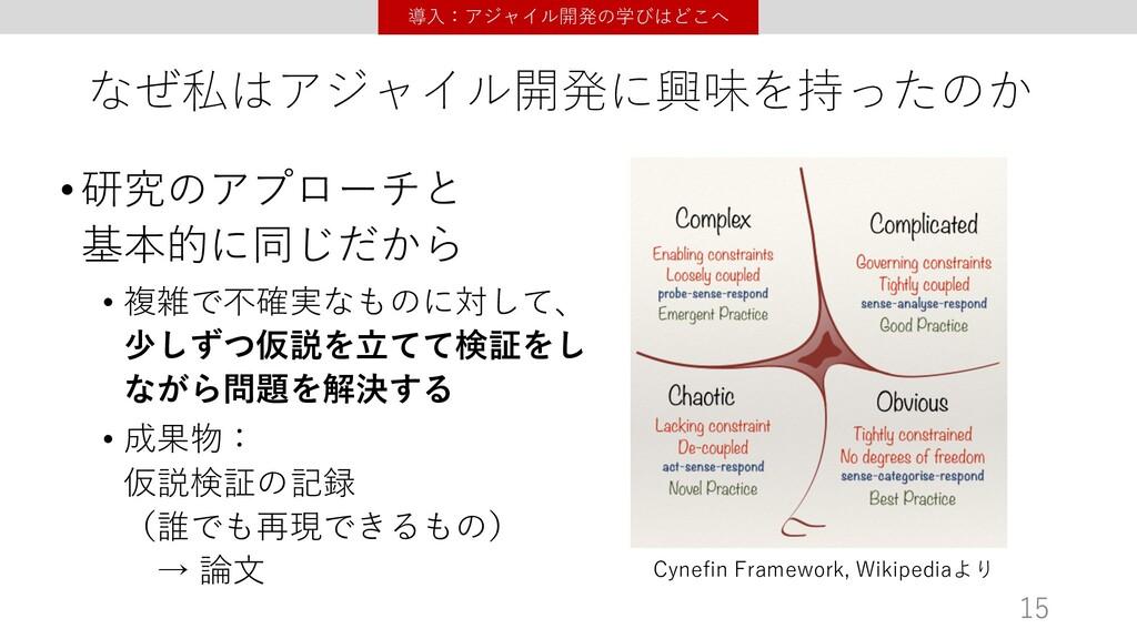 なぜ私はアジャイル開発に興味を持ったのか •研究のアプローチと 基本的に同じだから • 複雑で...